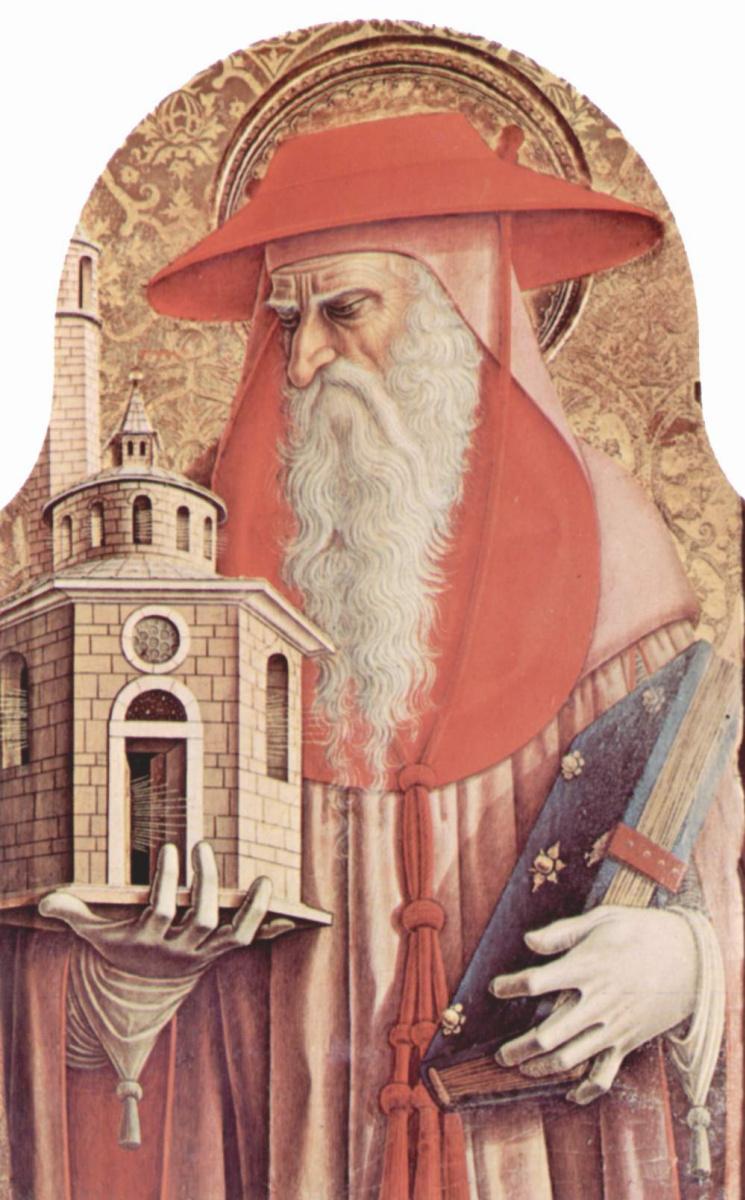 Карло Кривелли. Святой Иероним. Центральный алтарь кафедрального собора в Асколи, полиптих, внутренее левое навершие