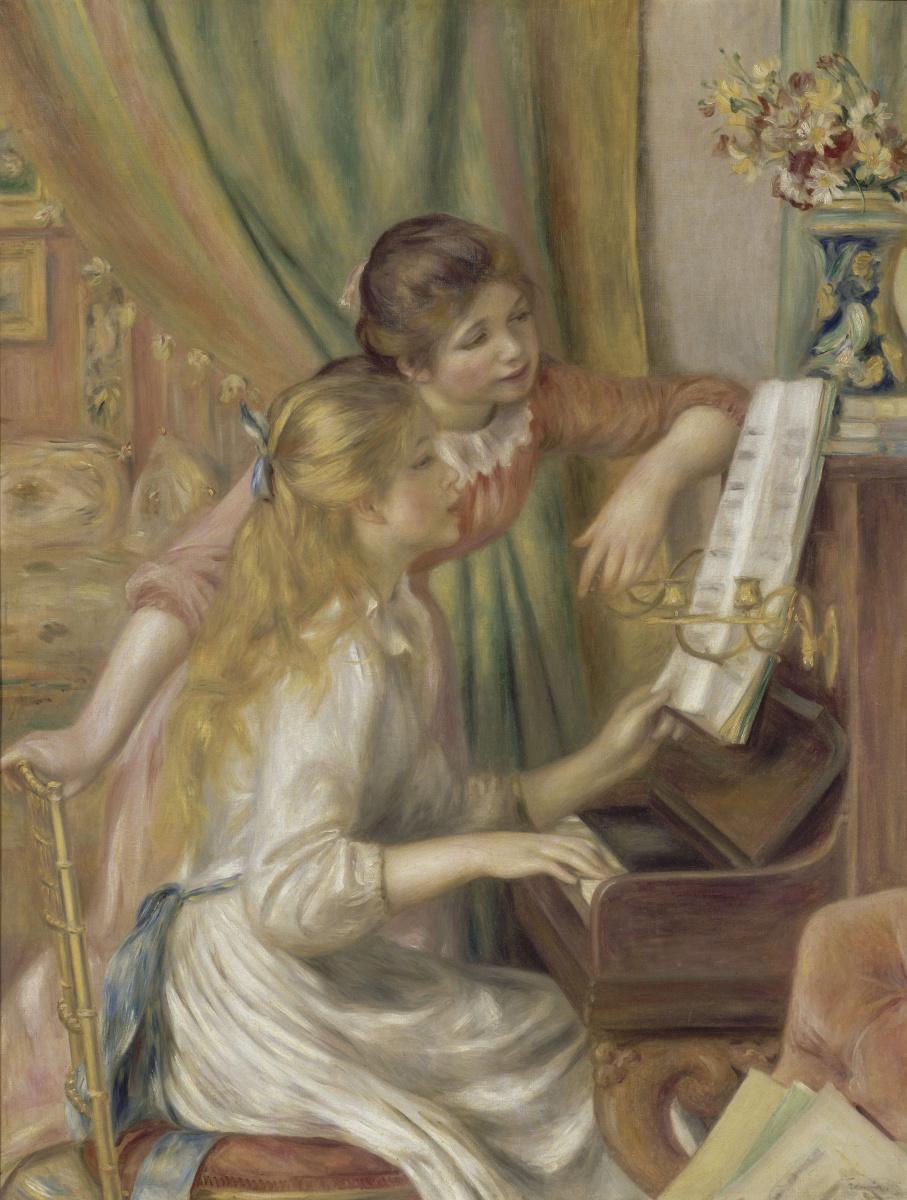 Пьер Огюст Ренуар. Две девушки за фортепиано