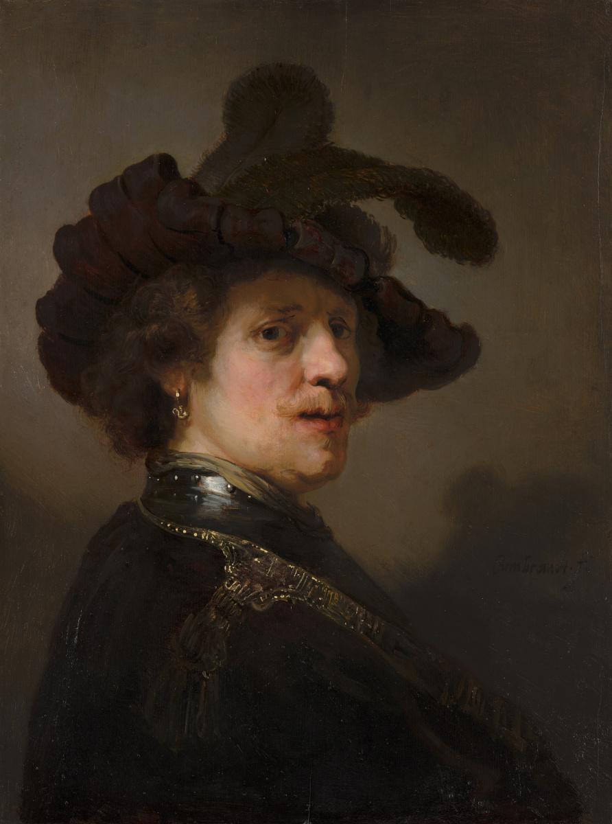 Рембрандт Харменс ван Рейн. Портрет мужчины в берете с пером