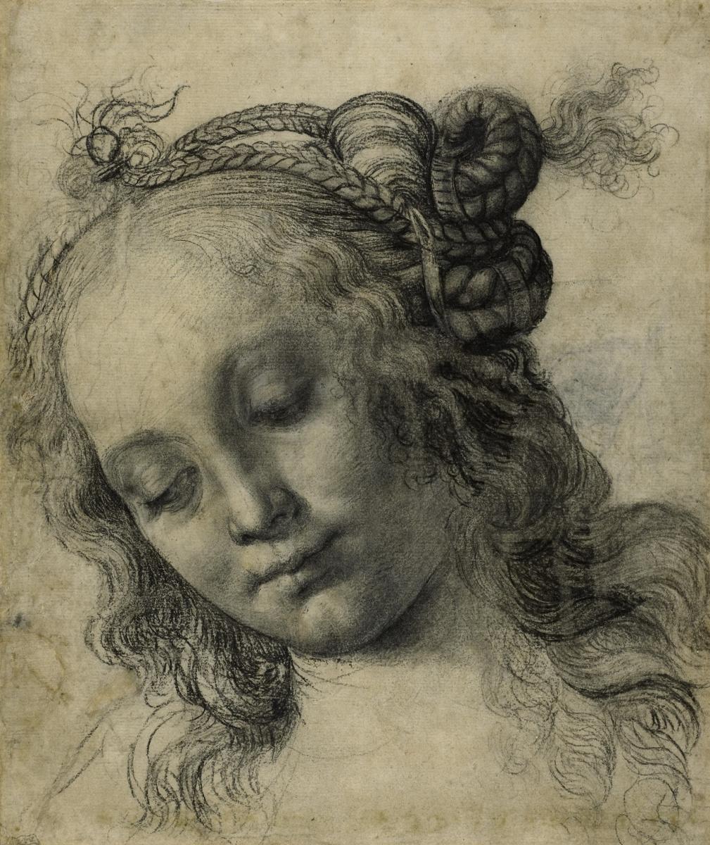 Andrea del Verrocchio. The head of a girl. Sketch