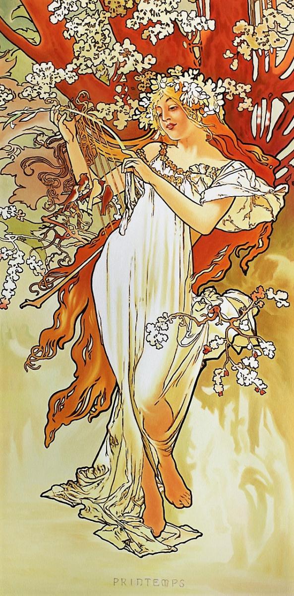 Савелий Камский. Копия картины Альфонса Мухи Весна. Серия Времена года