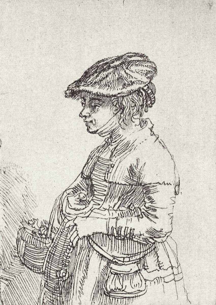 Рембрандт Харменс ван Рейн. Девушка с корзинкой