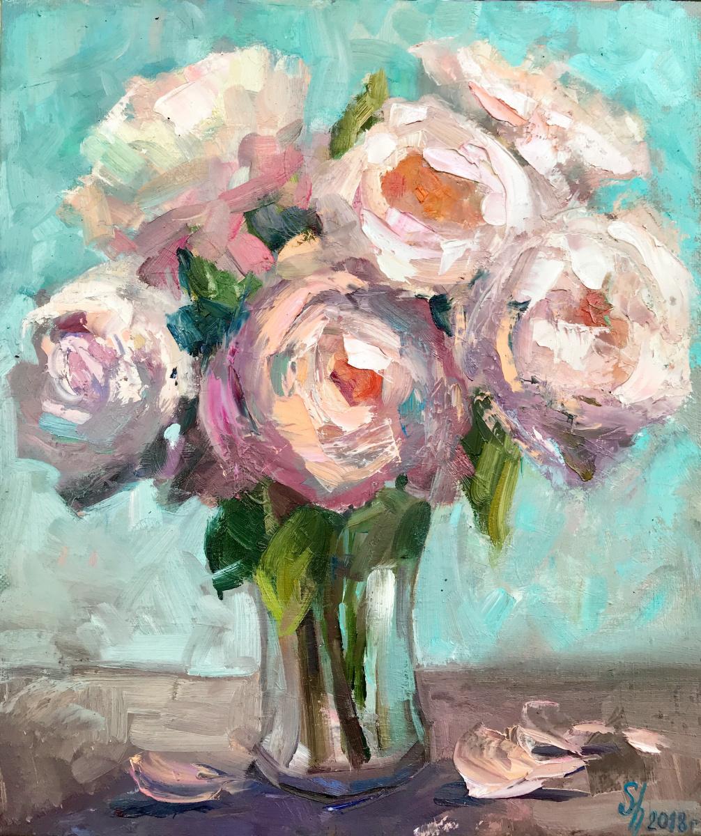 Natalia Shlyakhova. Bouquet of roses with peonies