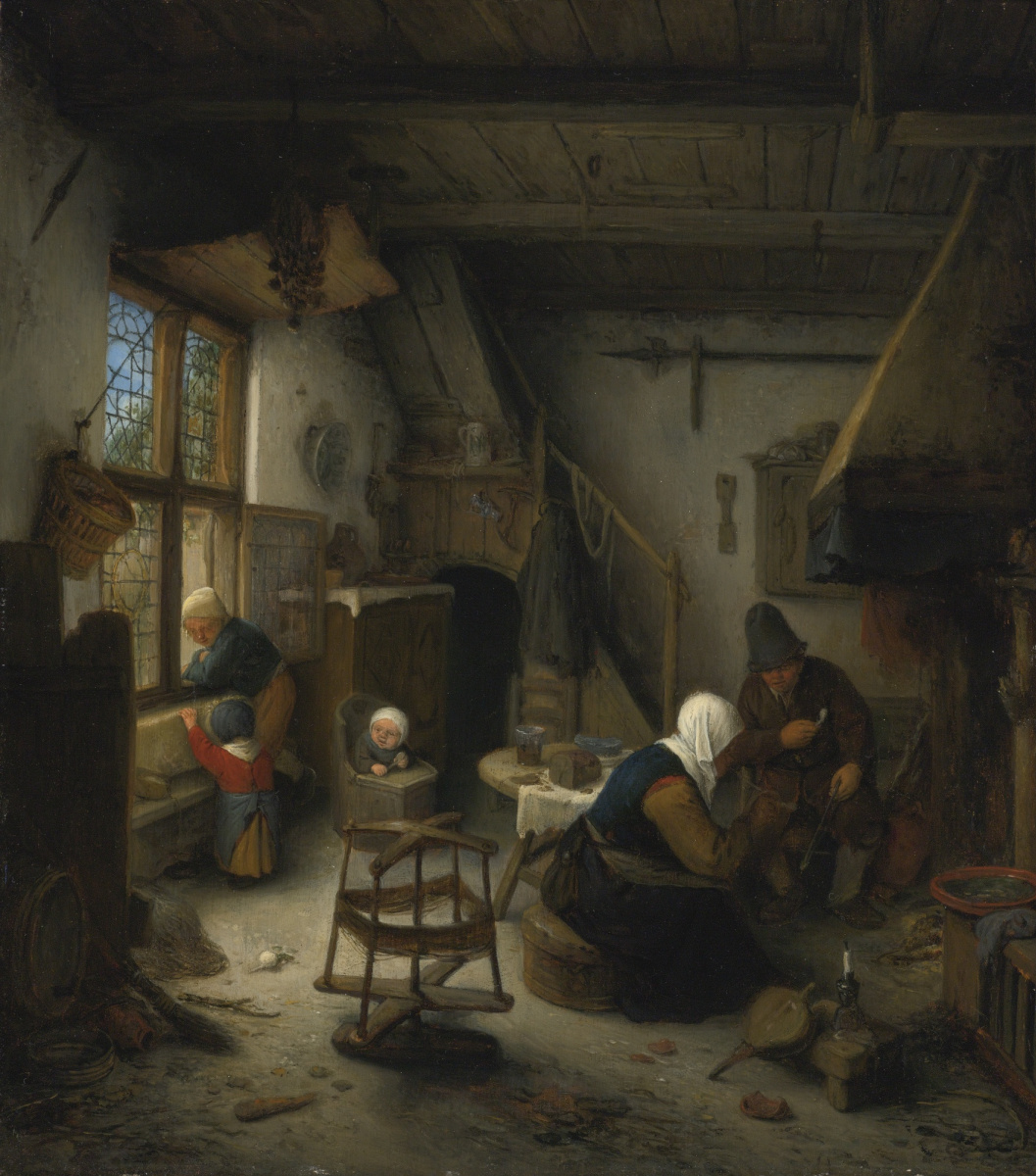 Adrian Jans van Ostade. The peasant family after a meal