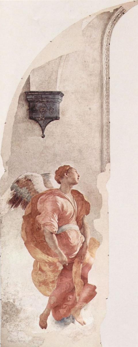 Якопо Понтормо. Фрески Капеллы Каппони в Санта Фелиция во Флоренции, сцена: Благовещение, деталь: Благовествующий ангел