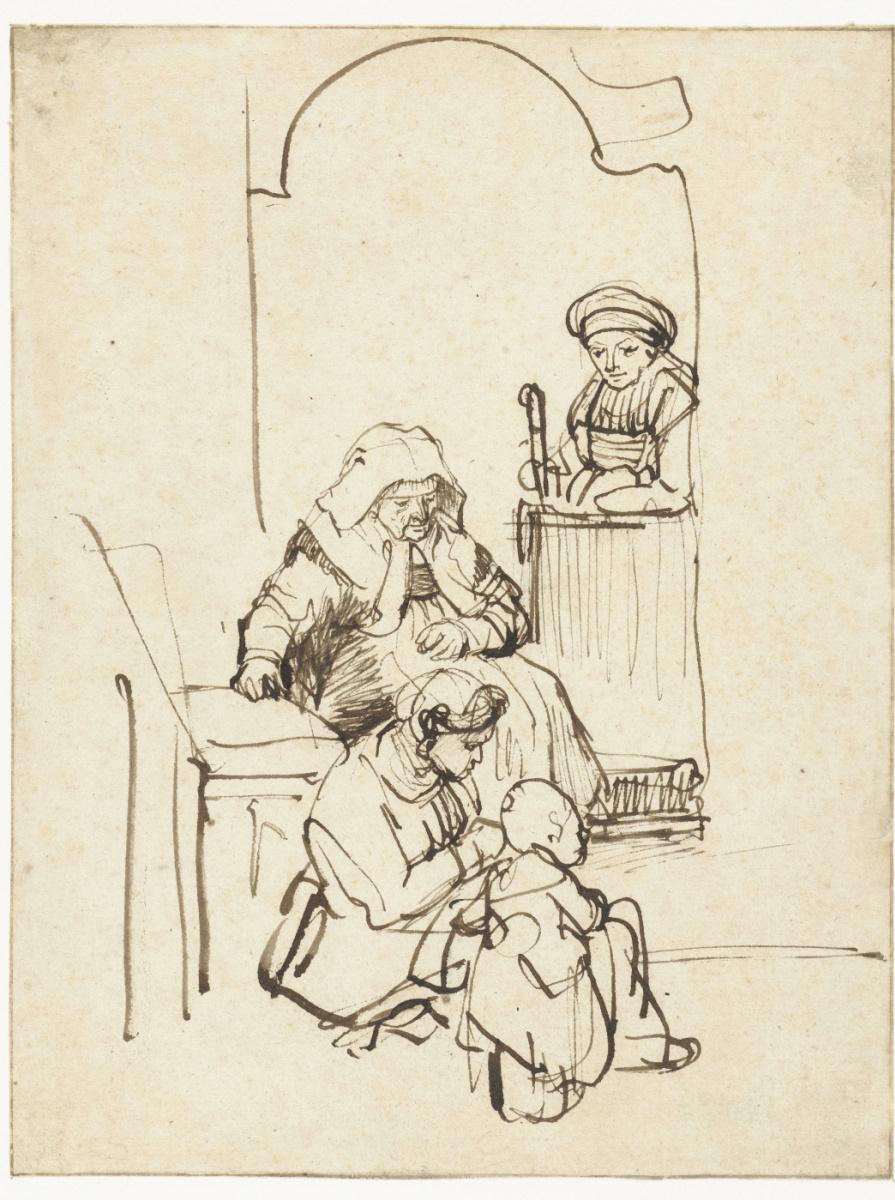 Рембрандт Харменс ван Рейн. Женщины с ребёнком у двери