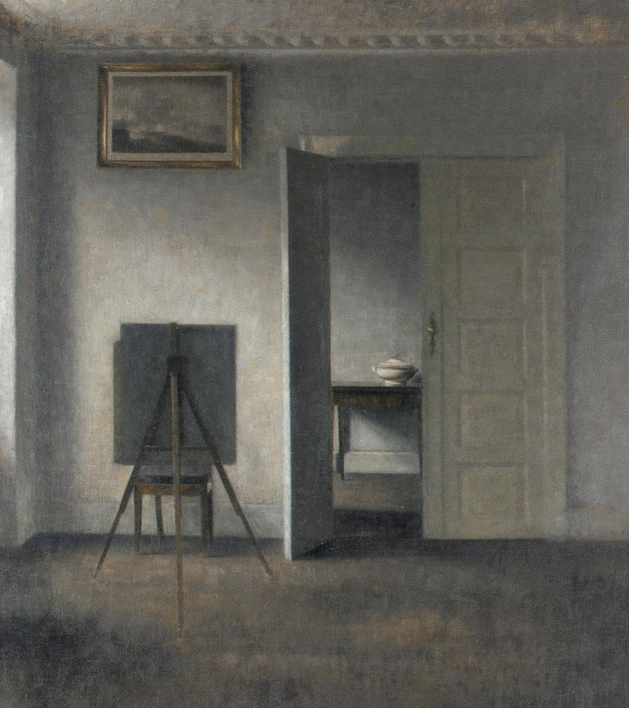 Вильгельм Хаммерсхёй. Интерьер с картиной и мольбертом. Бридгед, 25