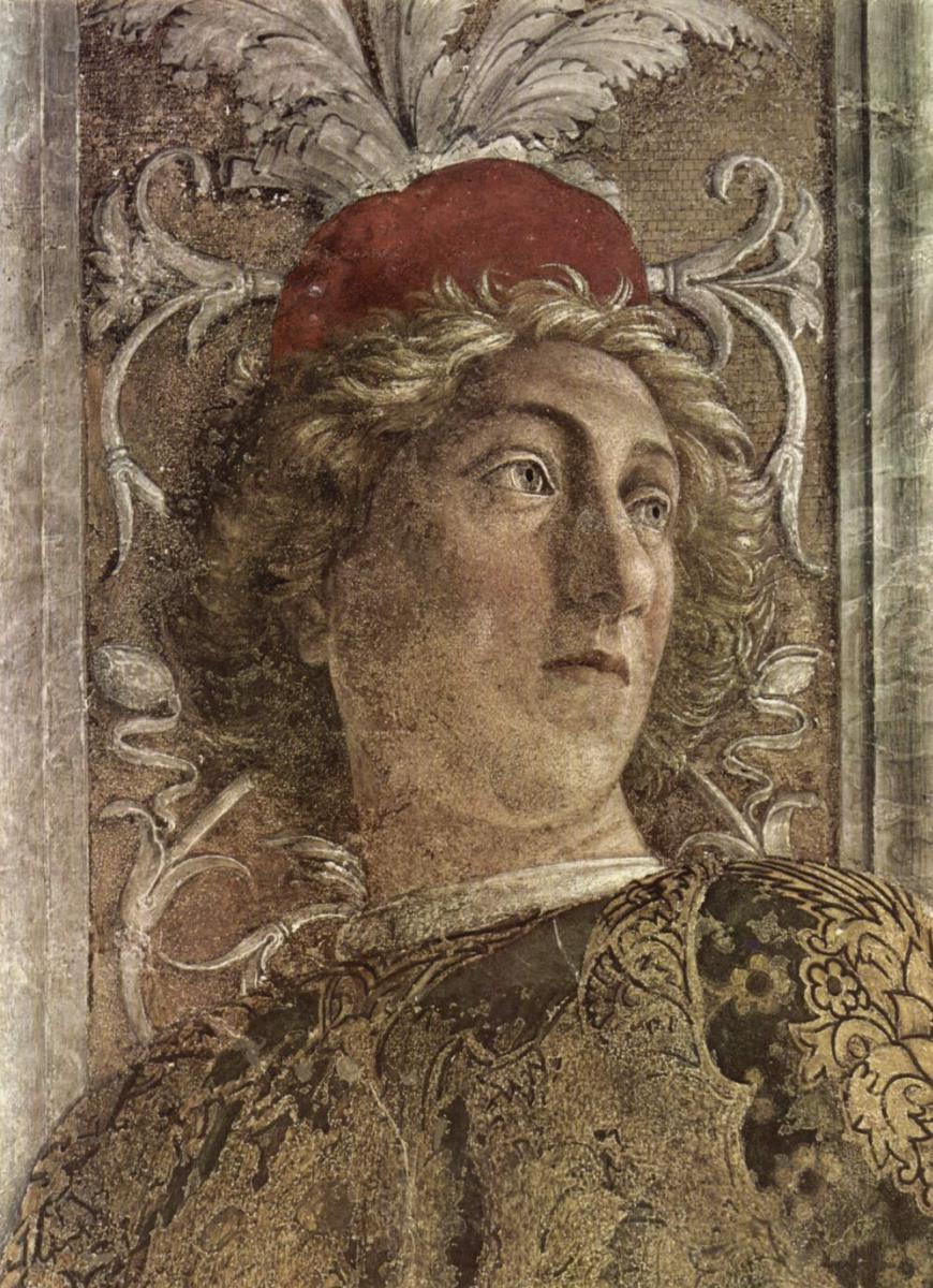 Андреа Мантенья. Двор Гонзага, фрагмент: придворный. Камера дельи Спози