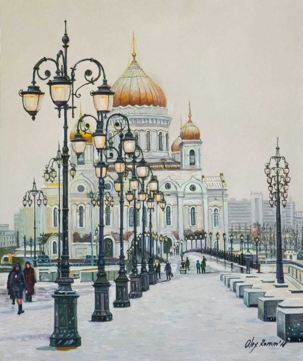 Alexander Romm. On a winter day at the Cathedral of Christ the Savior