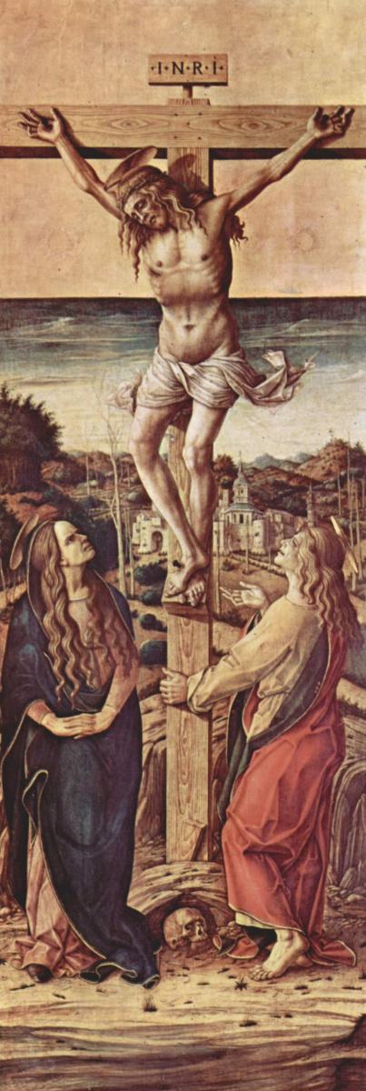 Карло Кривелли. Распятие с Девой и святым Иоанном Евангелистом