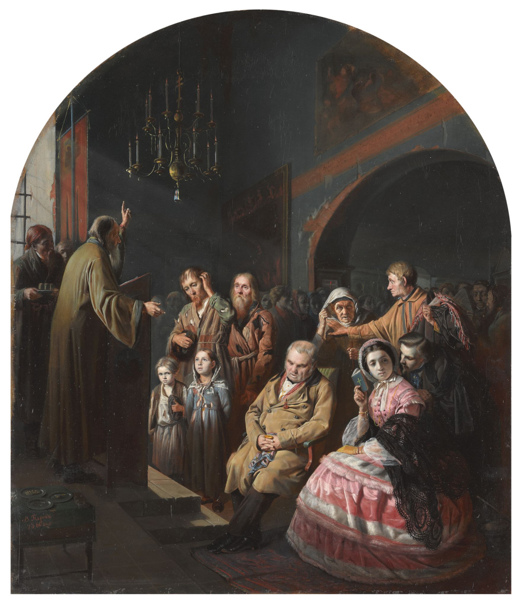 Василий Григорьевич Перов. Проповедь в селе