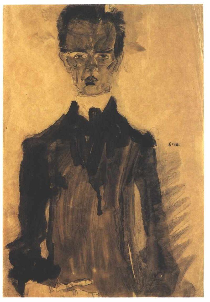 Egon Schiele. Self-portrait in black suit