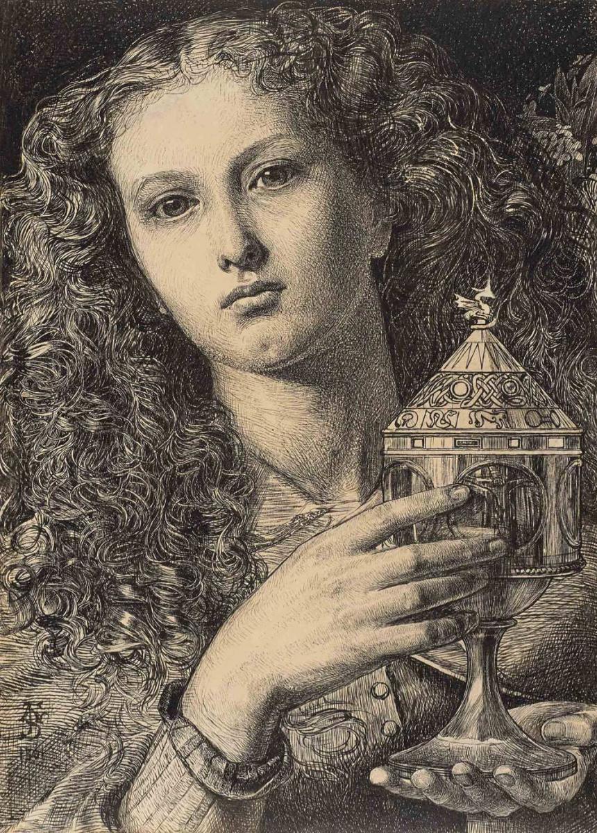 Энтони Фредерик Сэндис. Рисунок к картине «Дочь короля Пеллеса, несущая чашу Святого Грааля»