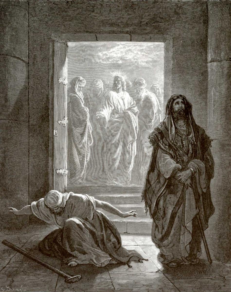 Поль Гюстав Доре. Иллюстрация к Библии: Фарисей и мытарь