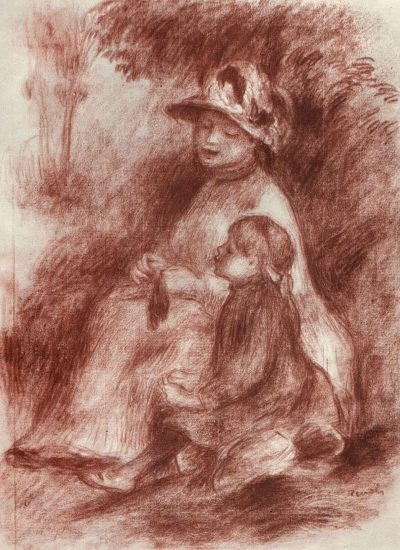Пьер Огюст Ренуар. Мать с ребенком, сидящие на траве
