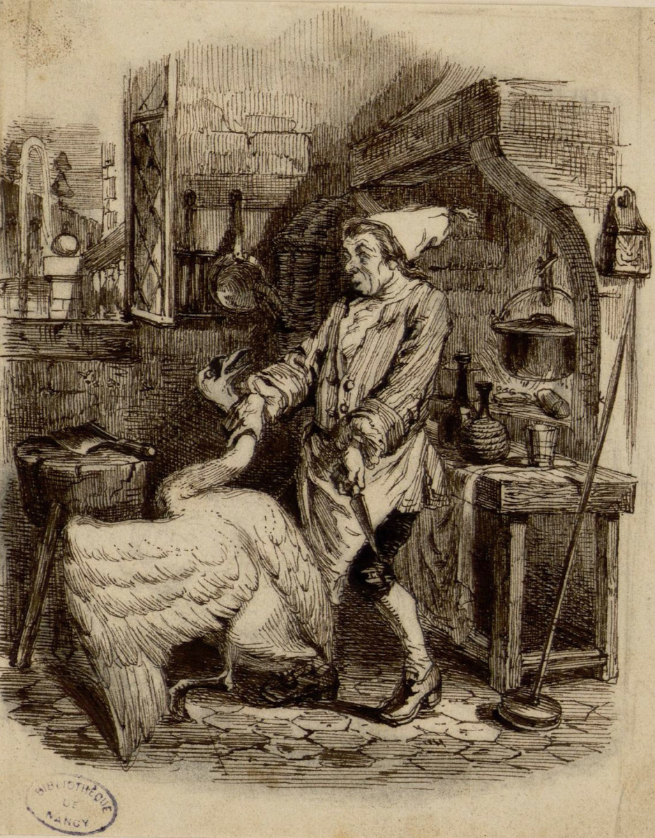 Jean Inias Isidore (Gerard) Granville. Swan and Cook. Illustrations to the fables of Jean de Lafontaine