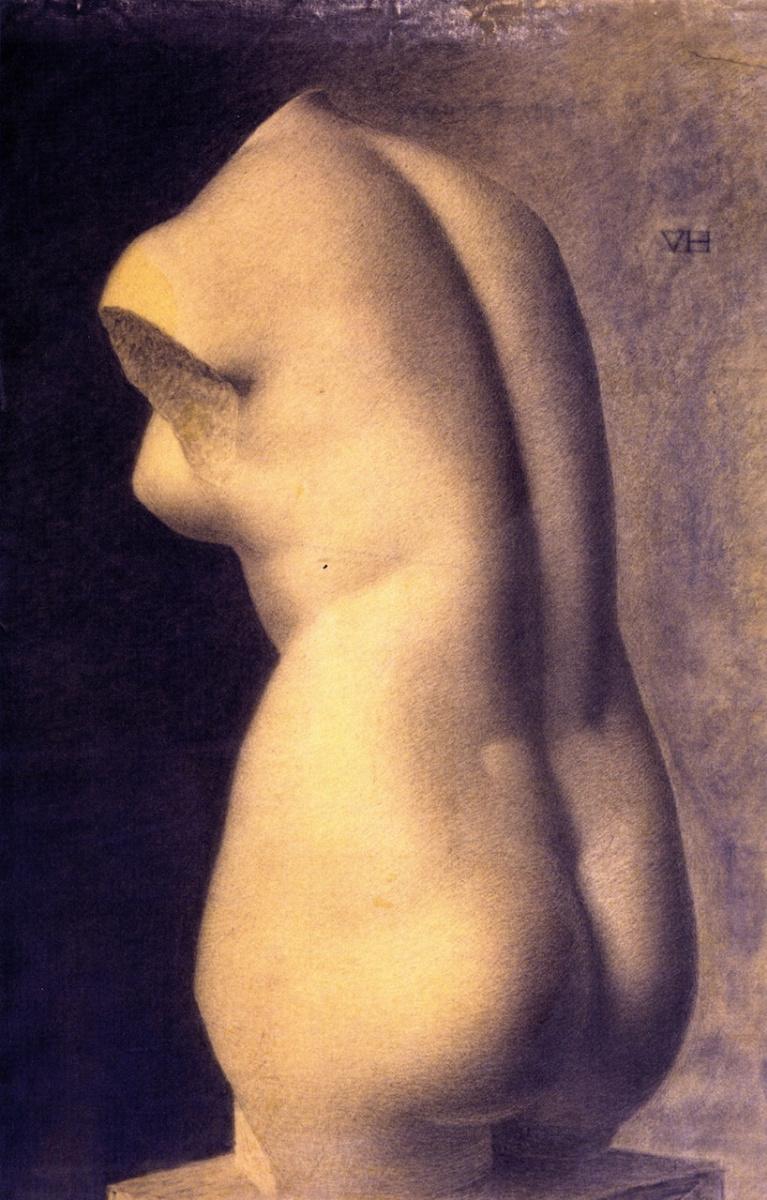 Вильгельм Хаммерсхёй. Гипсовый бюст Афродиты, 500 г. до н.э. Эскиз