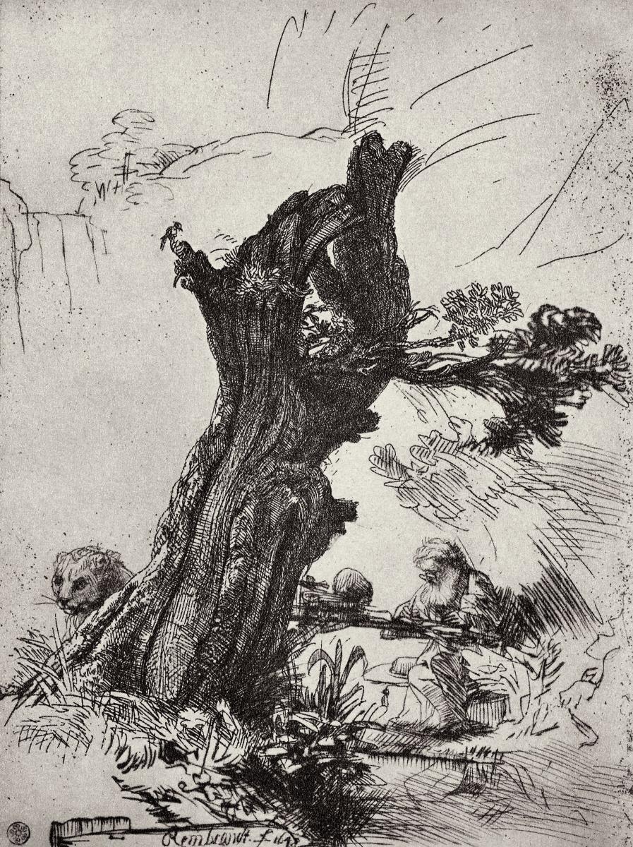 Рембрандт Харменс ван Рейн. Святой Иероним под ивой