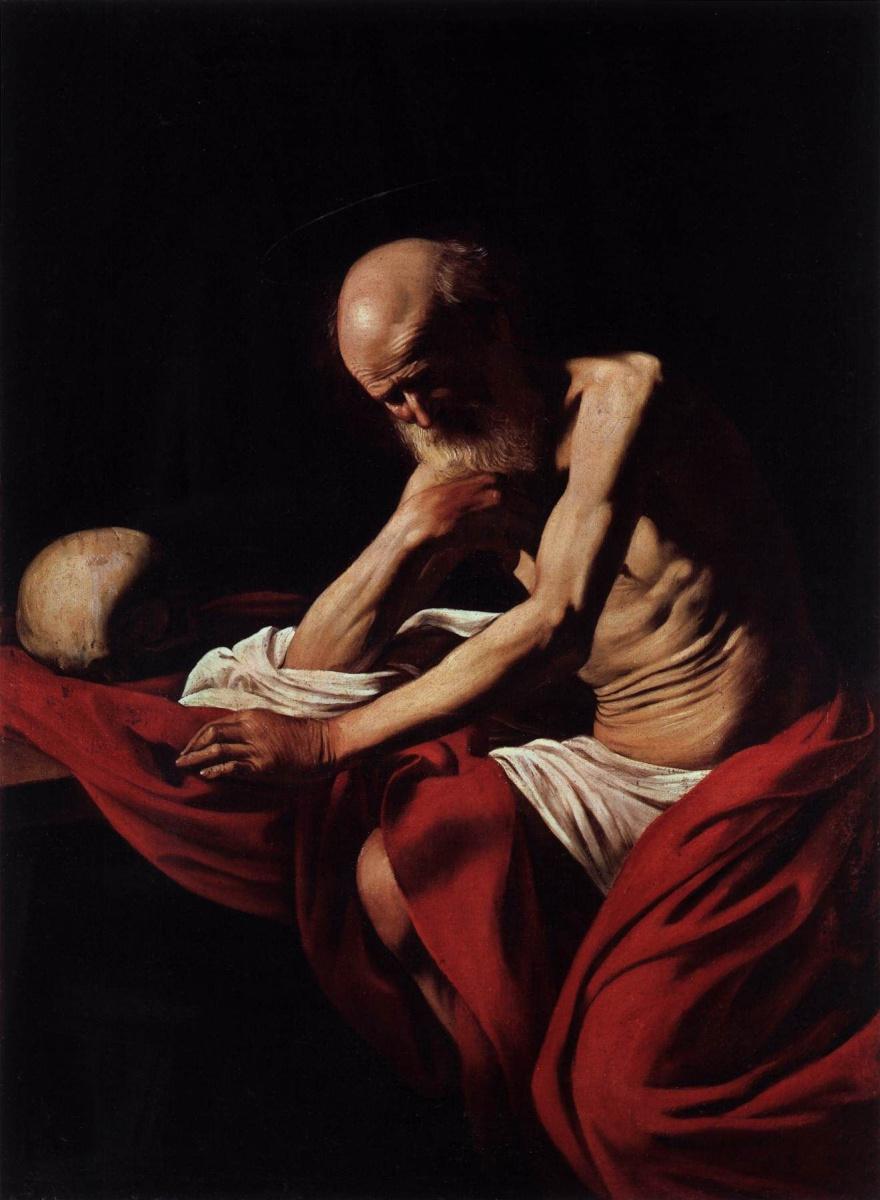 Микеланджело Меризи де Караваджо. Святой Иероним в размышлении