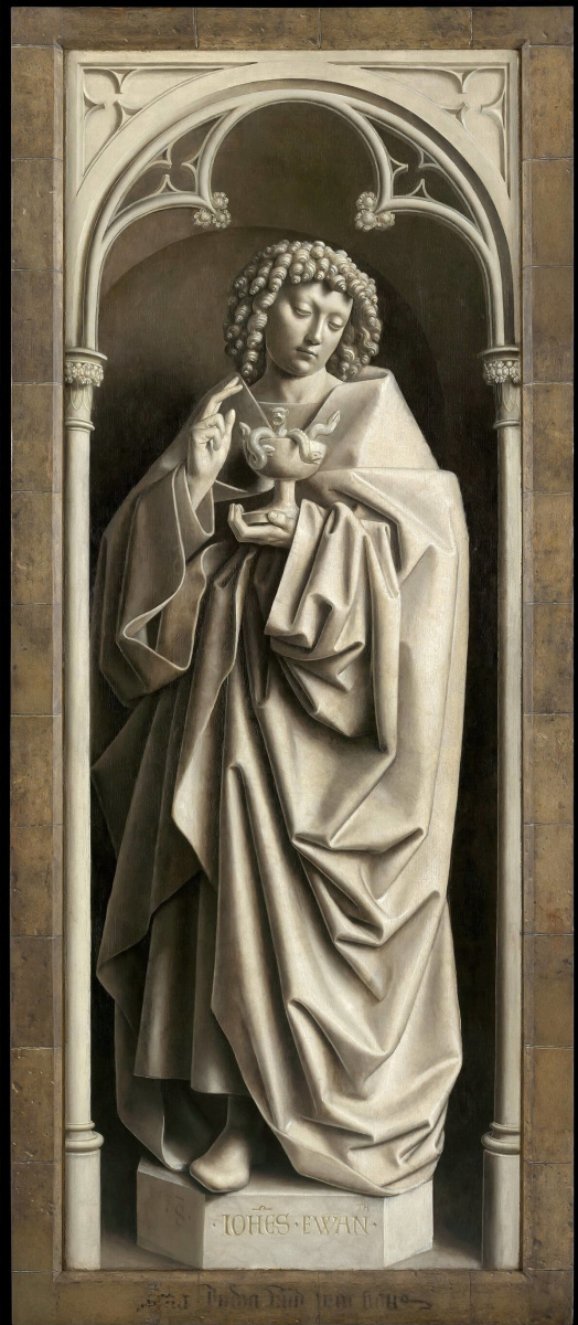 Ян ван Эйк. Гентский алтарь с закрытыми створками. Иоанн Богослов  (фрагмент)