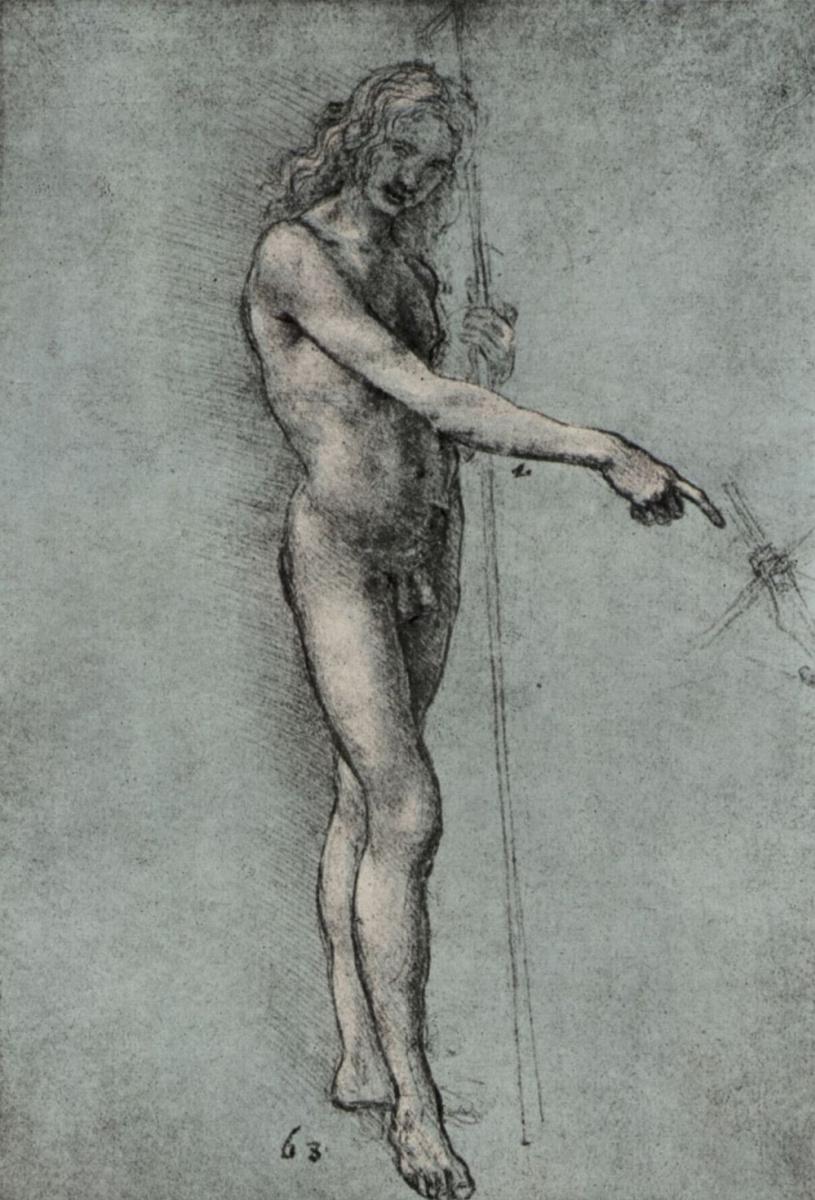 Леонардо да Винчи. Этюд обнаженного для фигуры Иоанна Крестителя