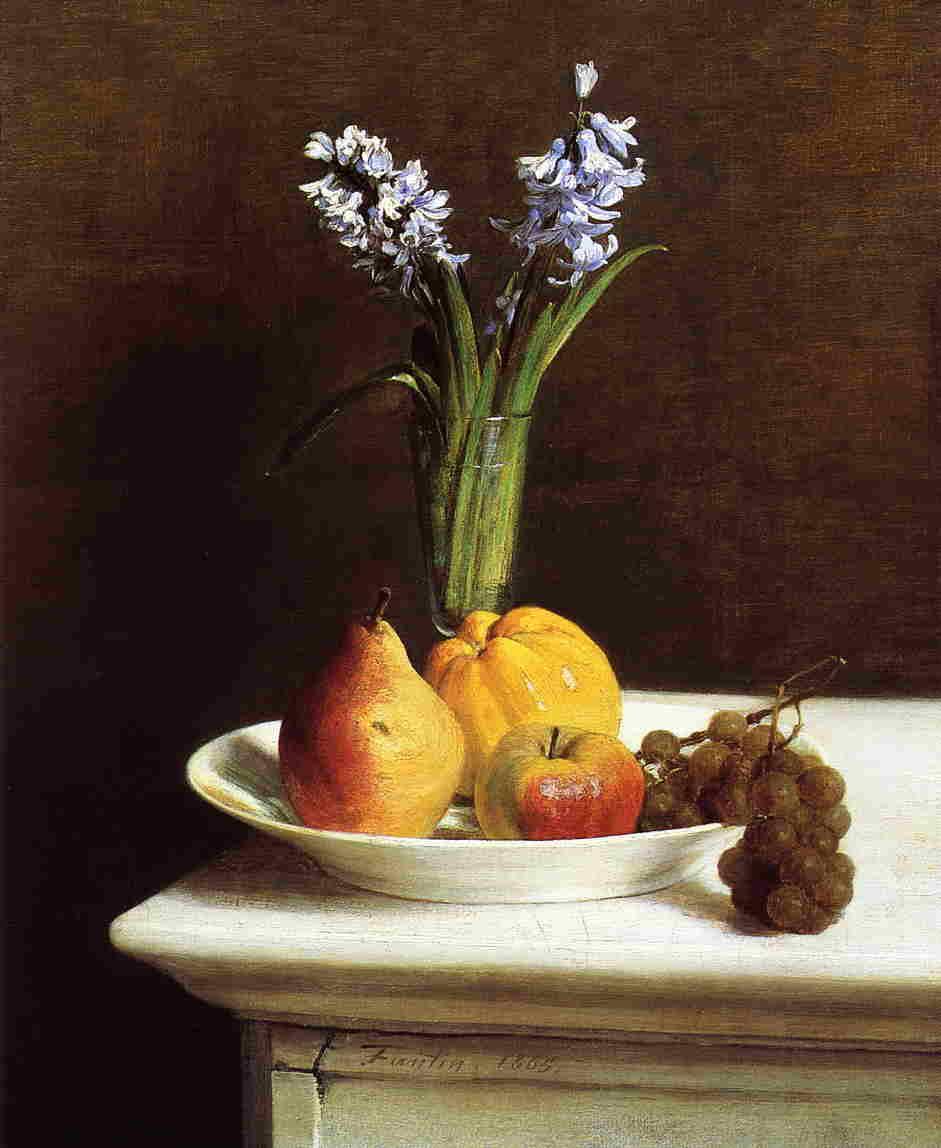 Анри Фантен-Латур. Гиацинты и фрукты