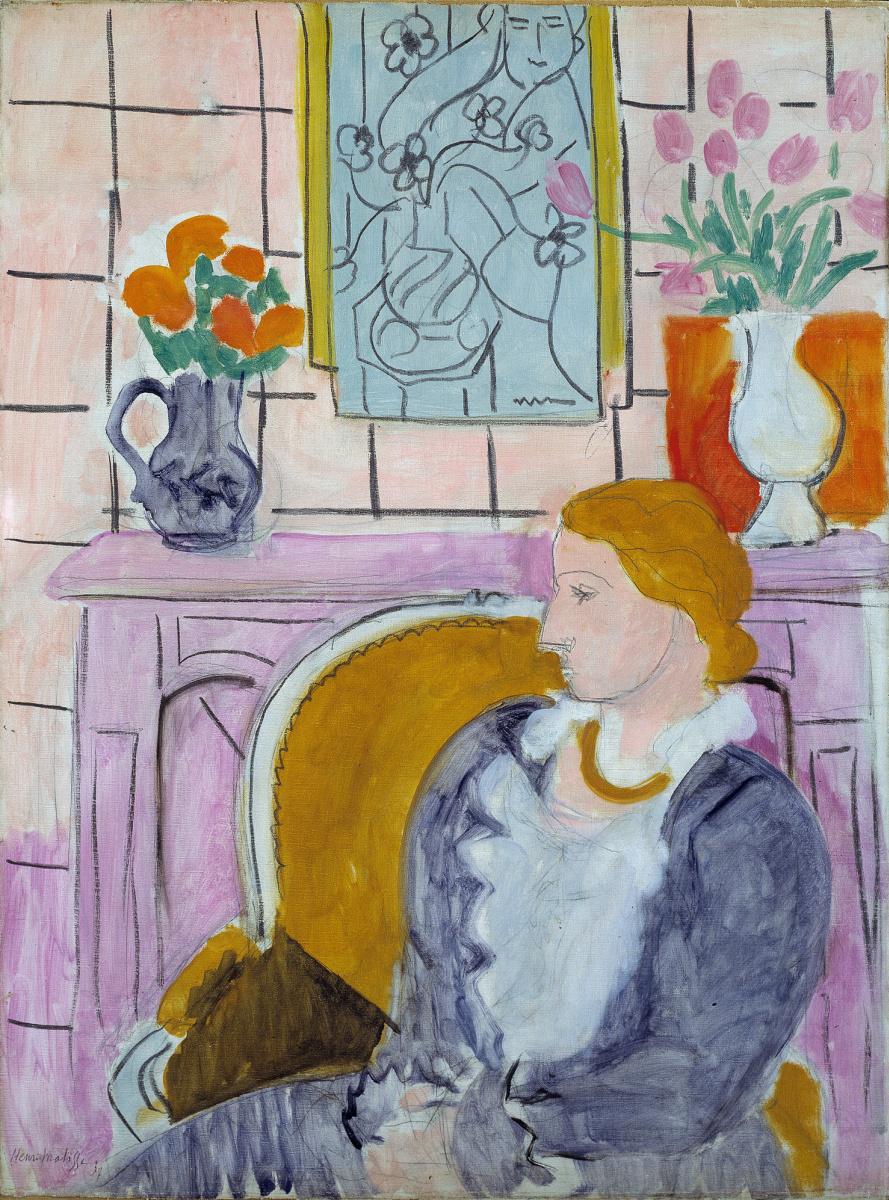 Анри Матисс. Женщина в голубом перед камином