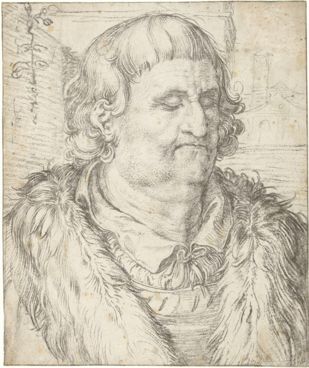 Хендрик Гольциус. Этюд мужской головы в стиле Дюрера.  1606