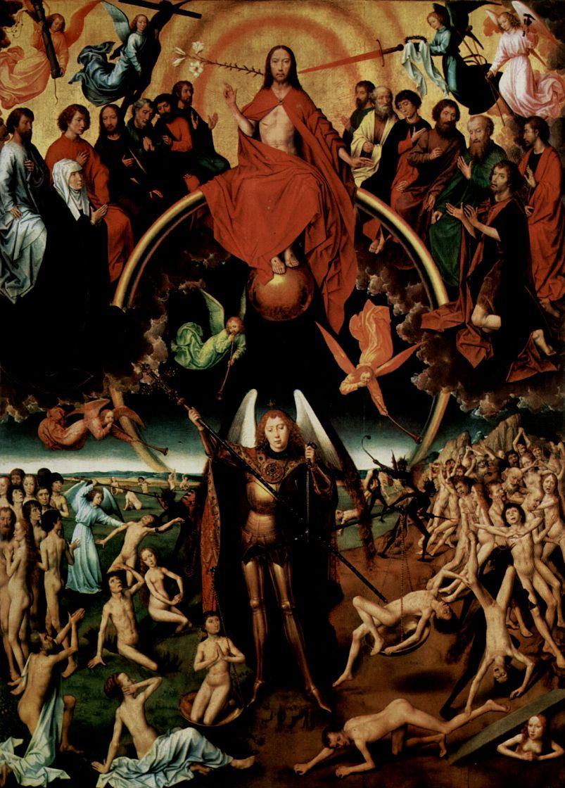 Ганс Мемлинг. Страшный суд, триптих, центральная часть: Христос судящий, окруженный апостолами и ангелами, и архангел Михаил