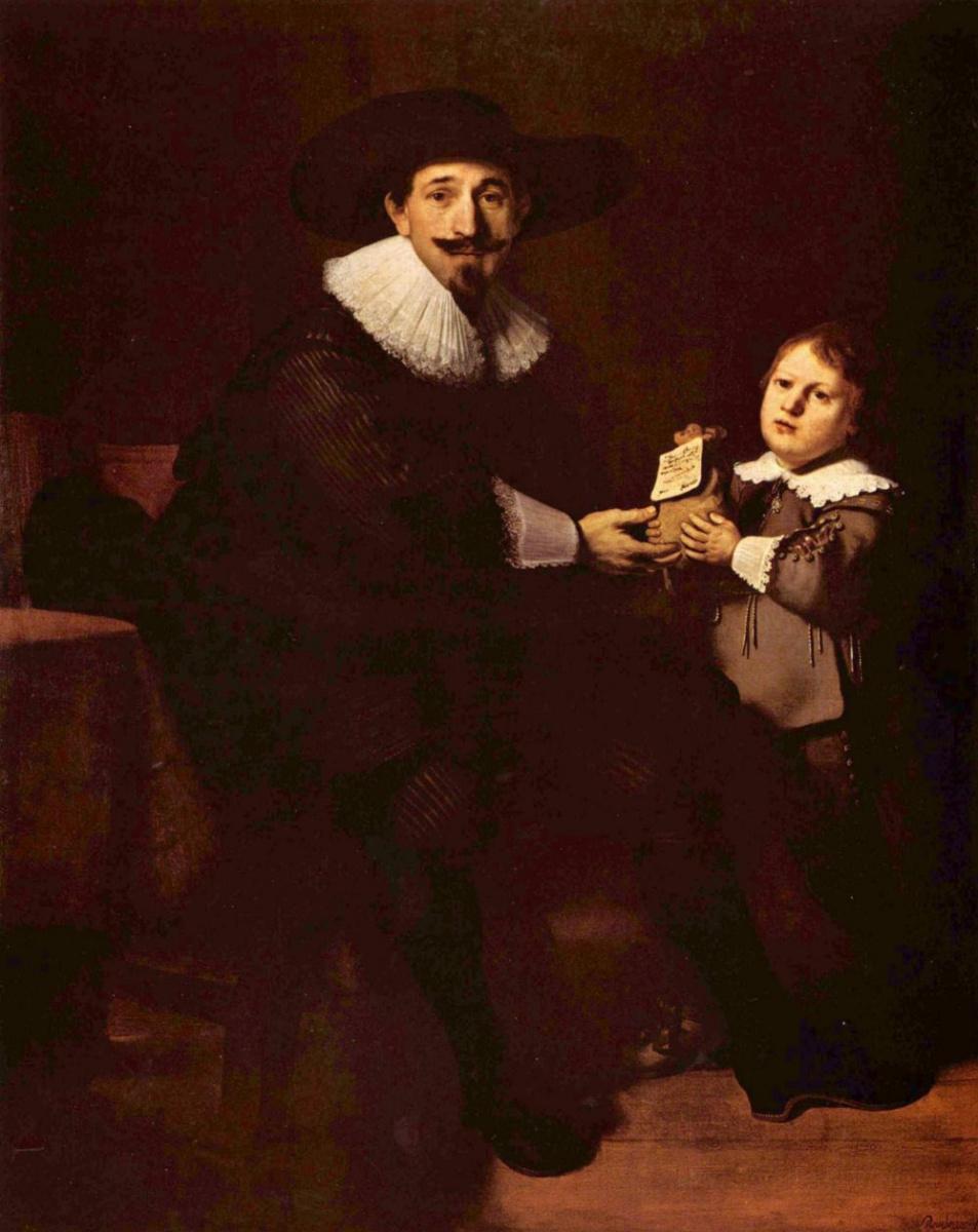 Рембрандт Харменс ван Рейн. Портрет Яна Пелликорна с сыном Гаспаром
