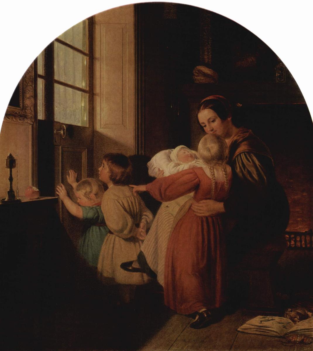 Ferdinand Theodor Hildebrandt. Children waiting for Christmas tree