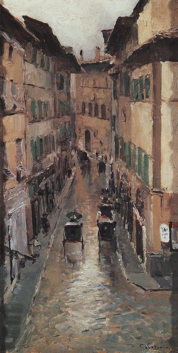 Константин Алексеевич Коровин. Улица во Флоренции в дождь