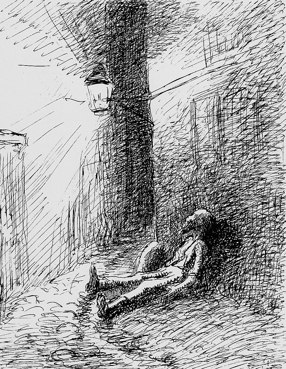 """Камиль Писсарро. Лист 11: Мучения Жана. Из книги """"Социальная распущенность"""""""