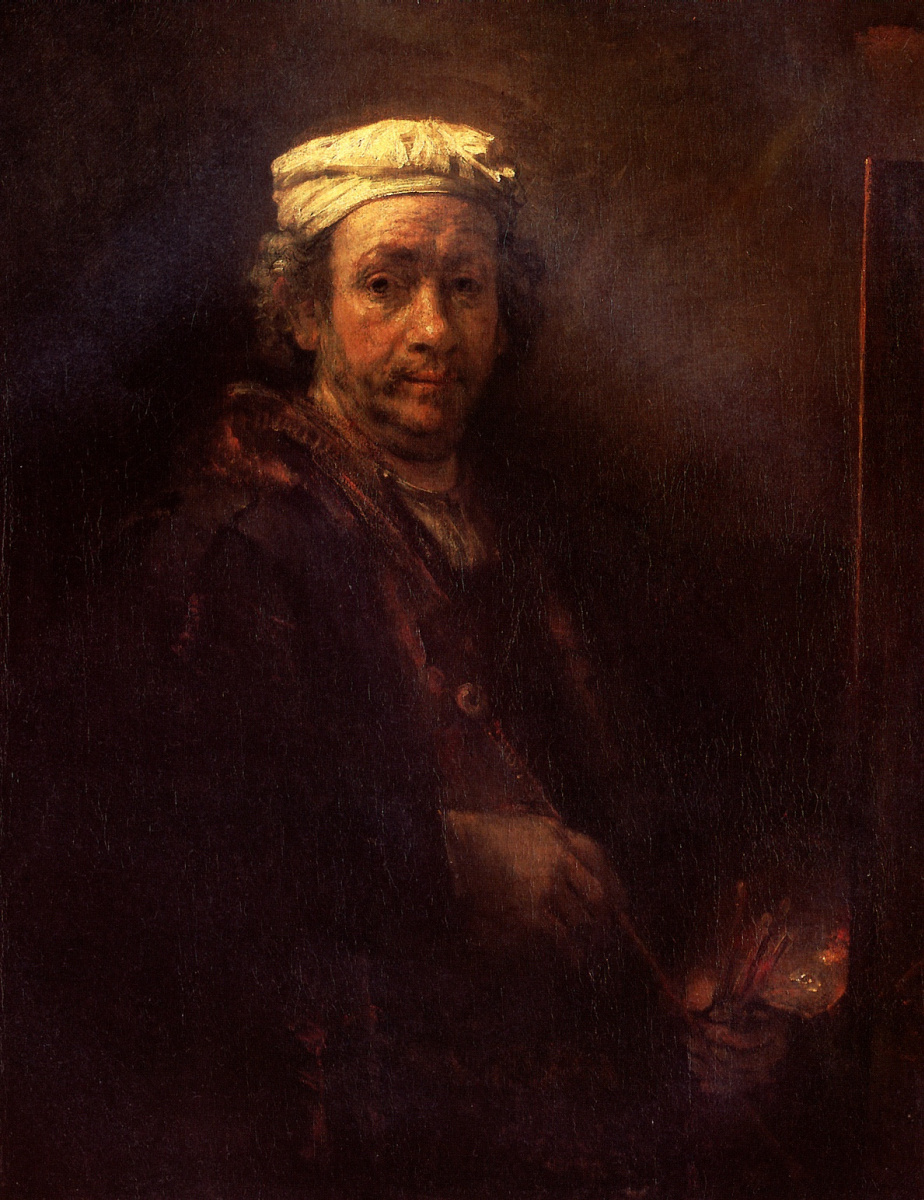 Рембрандт Харменс ван Рейн. Автопортрет за мольбертом
