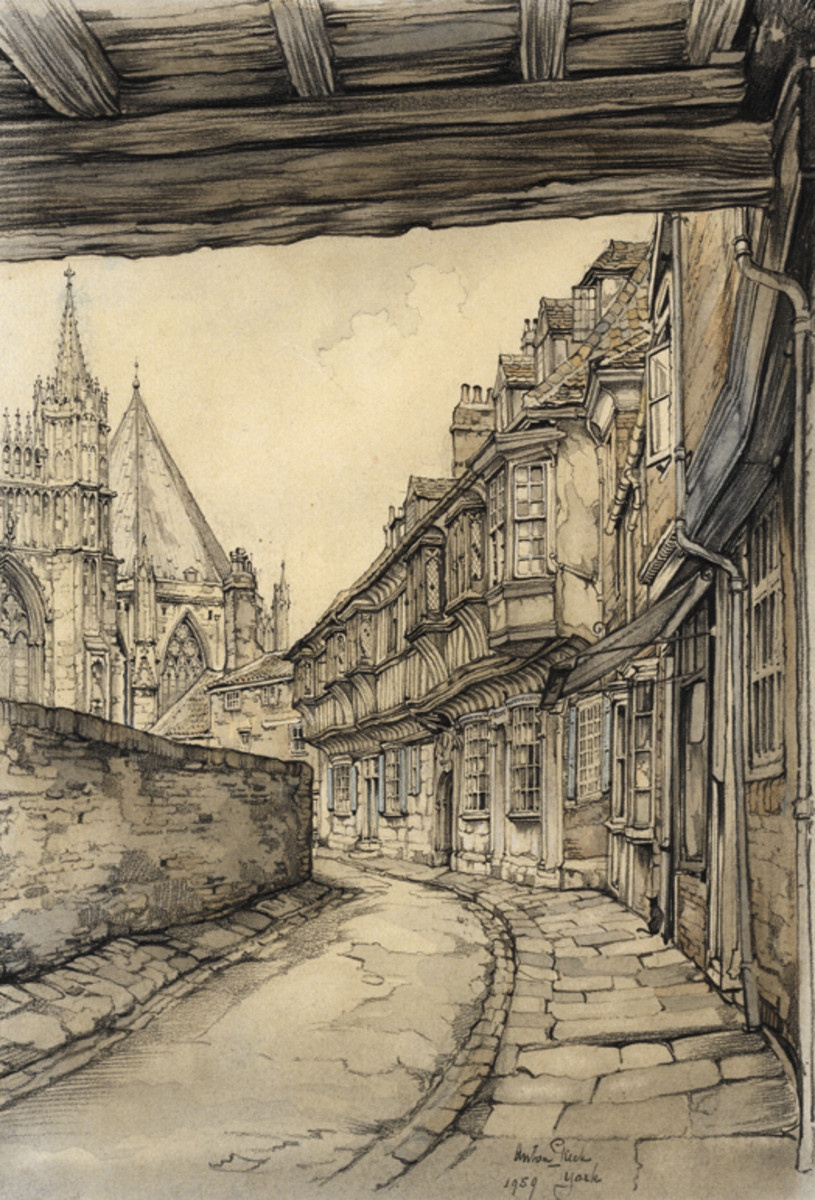Anton Pieck. Street in York, England