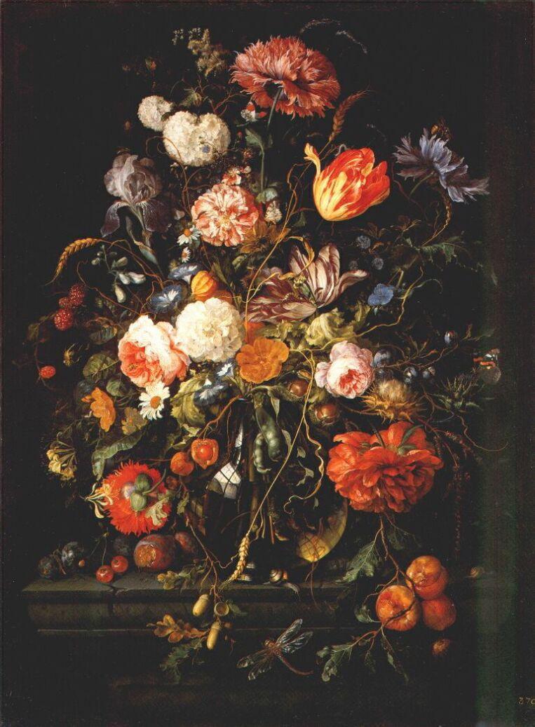 Cornelis de Hem. Fruit near the glass vase