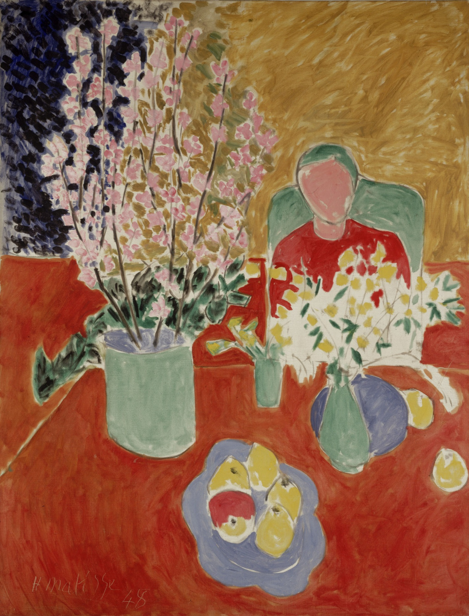 Анри Матисс. Цветы, сливы, зеленый фон