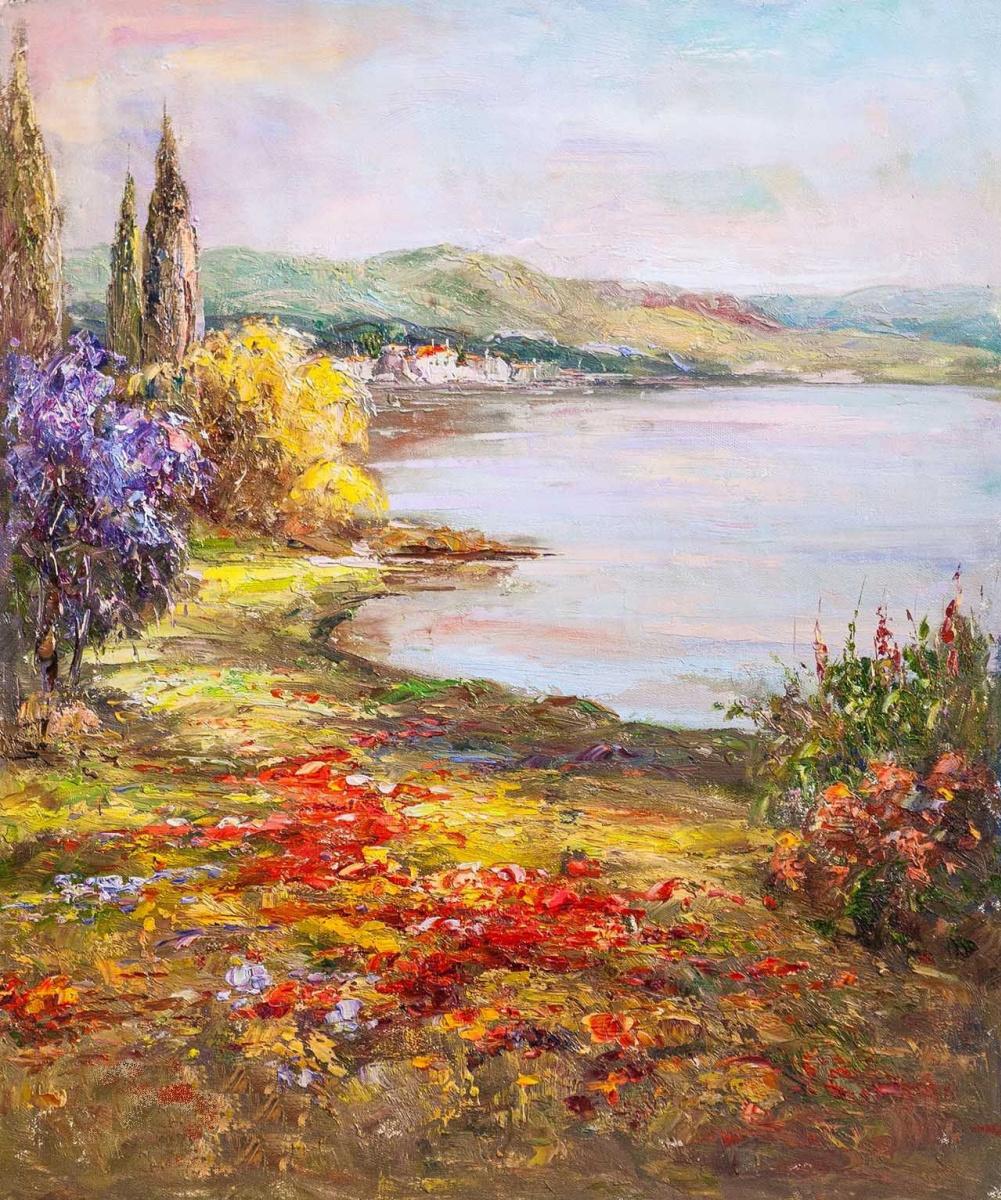 "Andrzej Vlodarczyk. Oil landscape ""Mediterranean coast. On the way to the sea"""