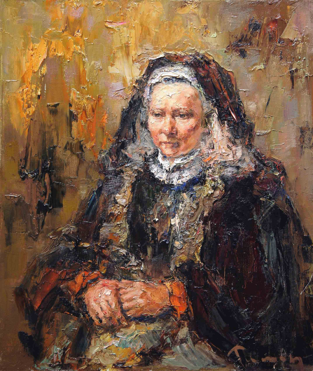 Tuman Art Gallery Tumana Zhumabayeva. Portrait of an elderly woman