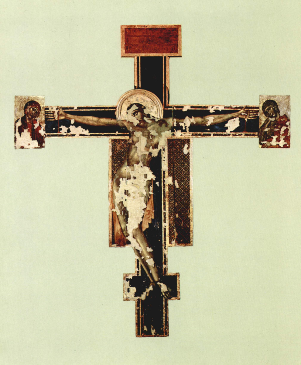 Cheney di Pepo Cimabue. Crucifixion of Santa Croce in Florence, state after 1966