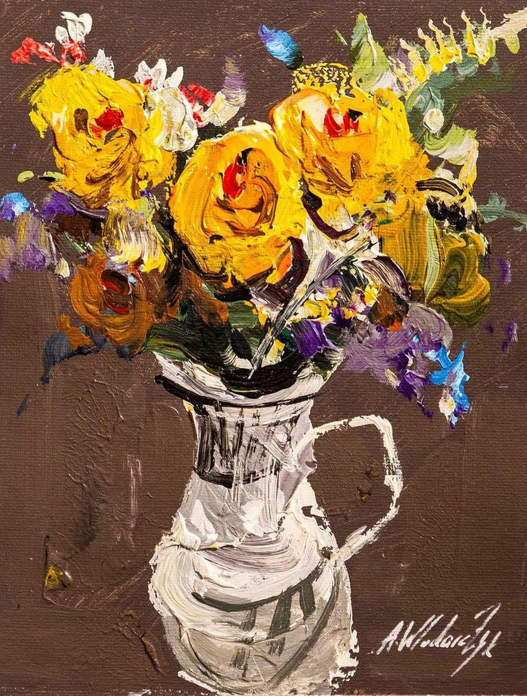 """Andrzej Vlodarczyk. Still life with oil """"Bouquet of yellow roses in a jug N2"""" """""""