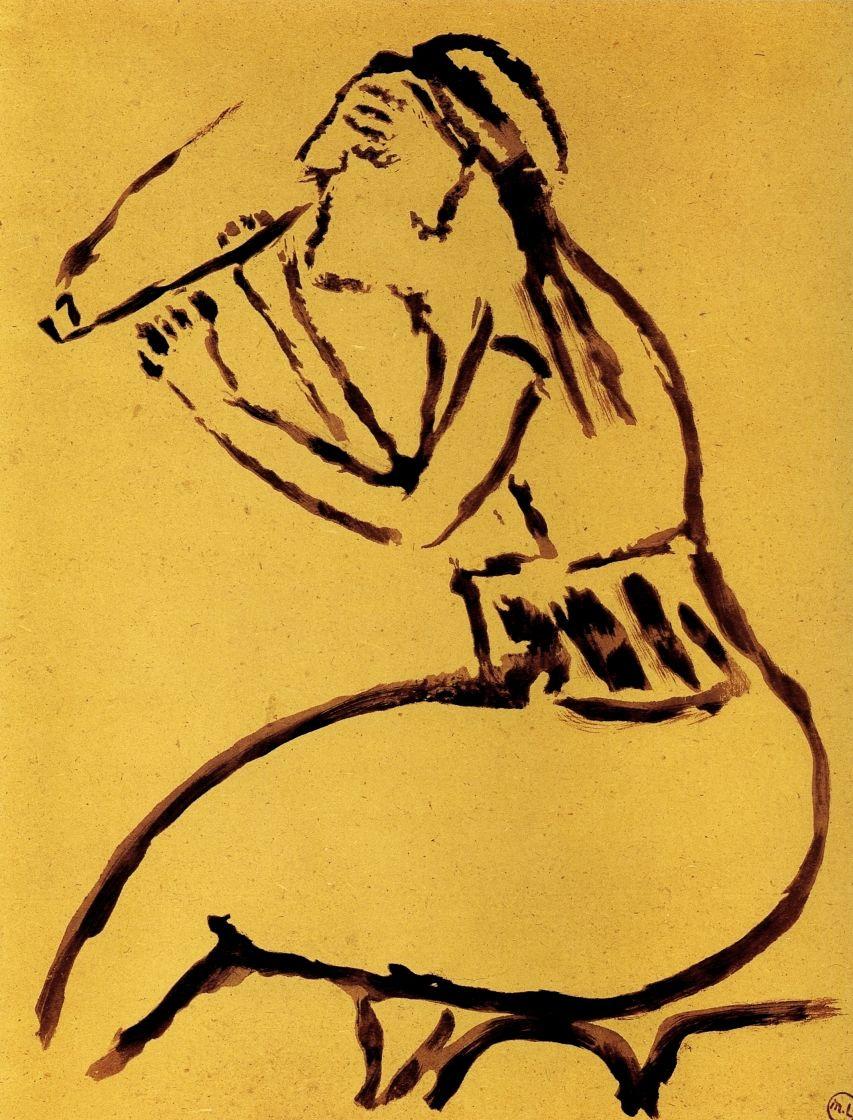 """Михаил Федорович Ларионов. Турчанка с трубкой. Из альбома """"Путешествие в Турцию"""""""