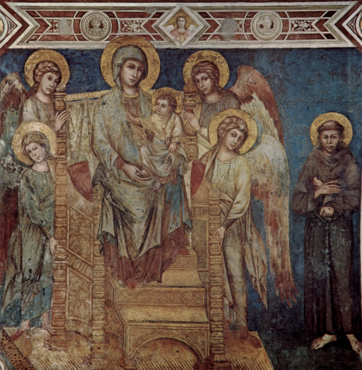 Cimabue (Chenny di Pepo). The frescoes of the Lower Church of San Francesco in Assisi, the nave on the right: Madonna enthroned, four angels and St. Francis