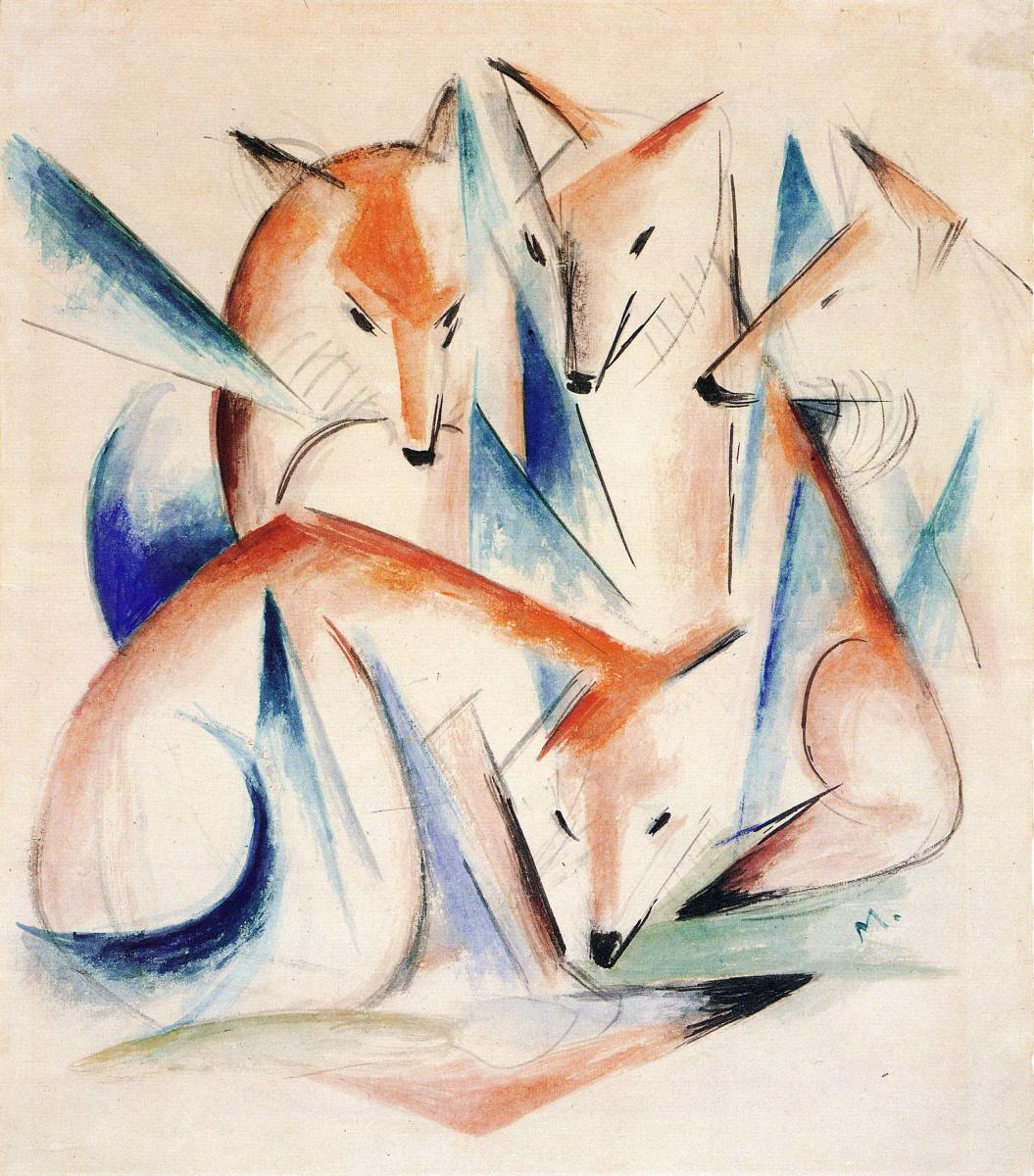 Franz Mark. Four foxes