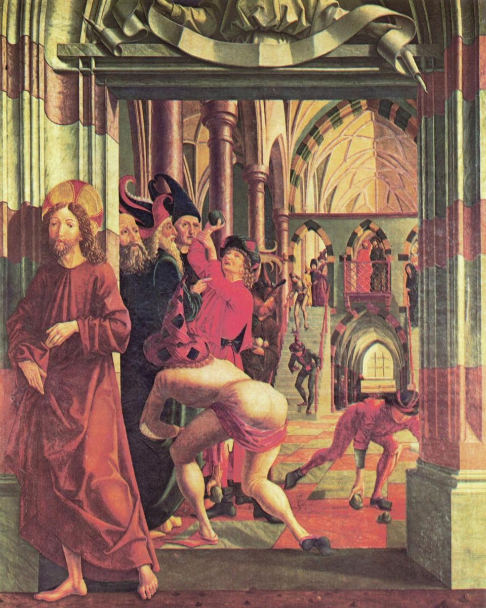 Михаэль Пахер. Алтарь св. Вольфганга, внутренняя сторона леой створки, нижняя часть. Побиение Христа камнями