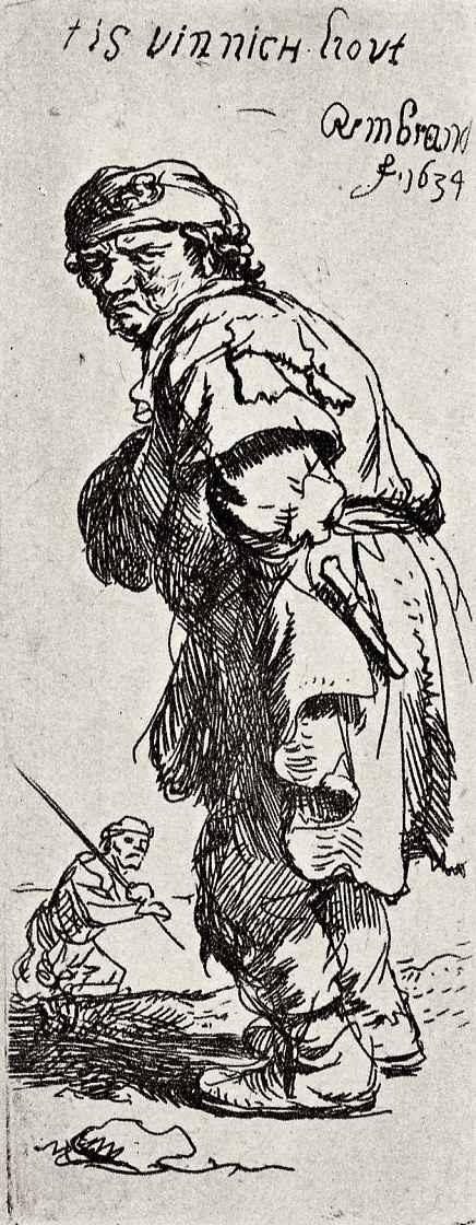 Рембрандт Ван Рейн. Стоящий крестьянин