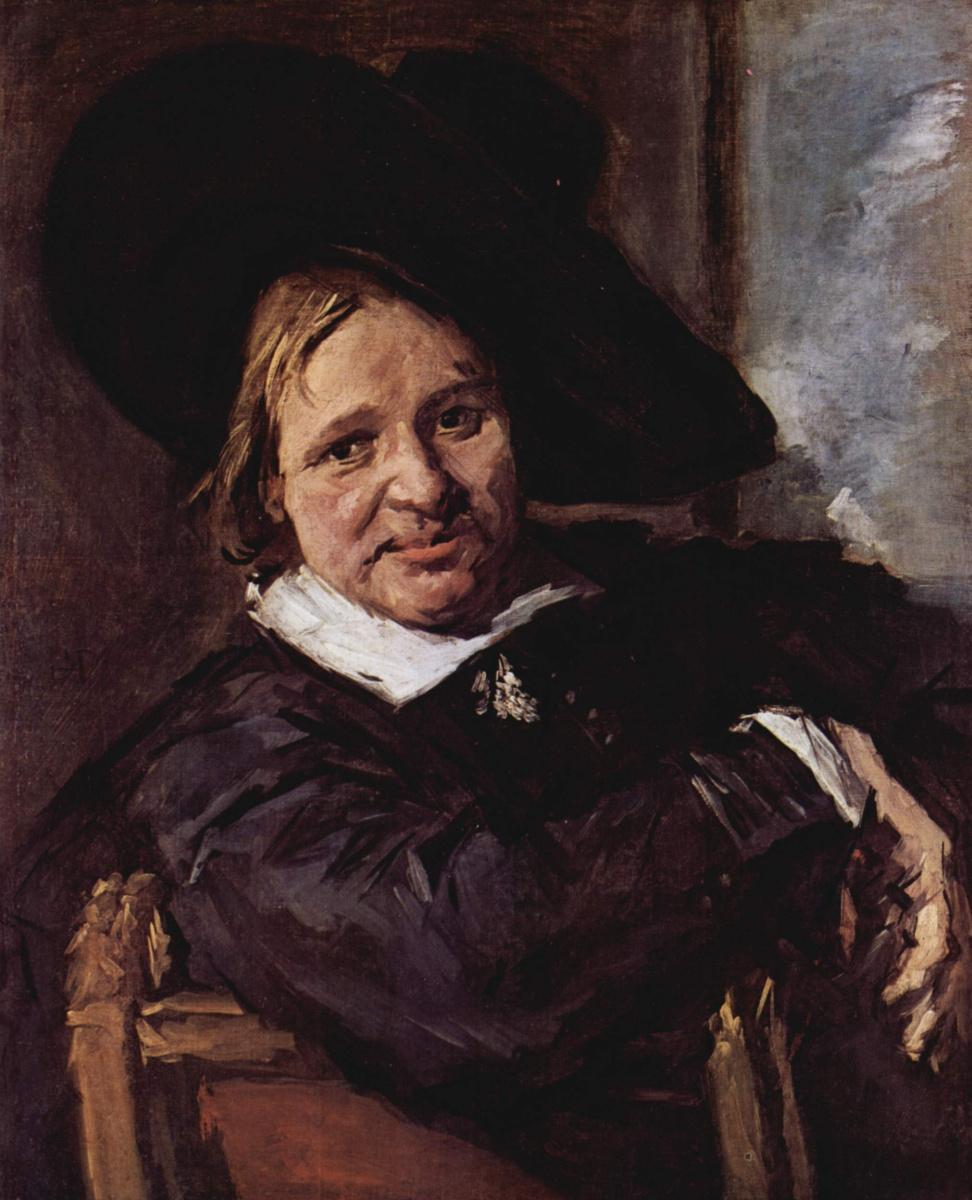 Франс Халс. Портрет сидящего мужчины в шляпе, одетой набекрень, правой рукой опирающегося о спинку стула