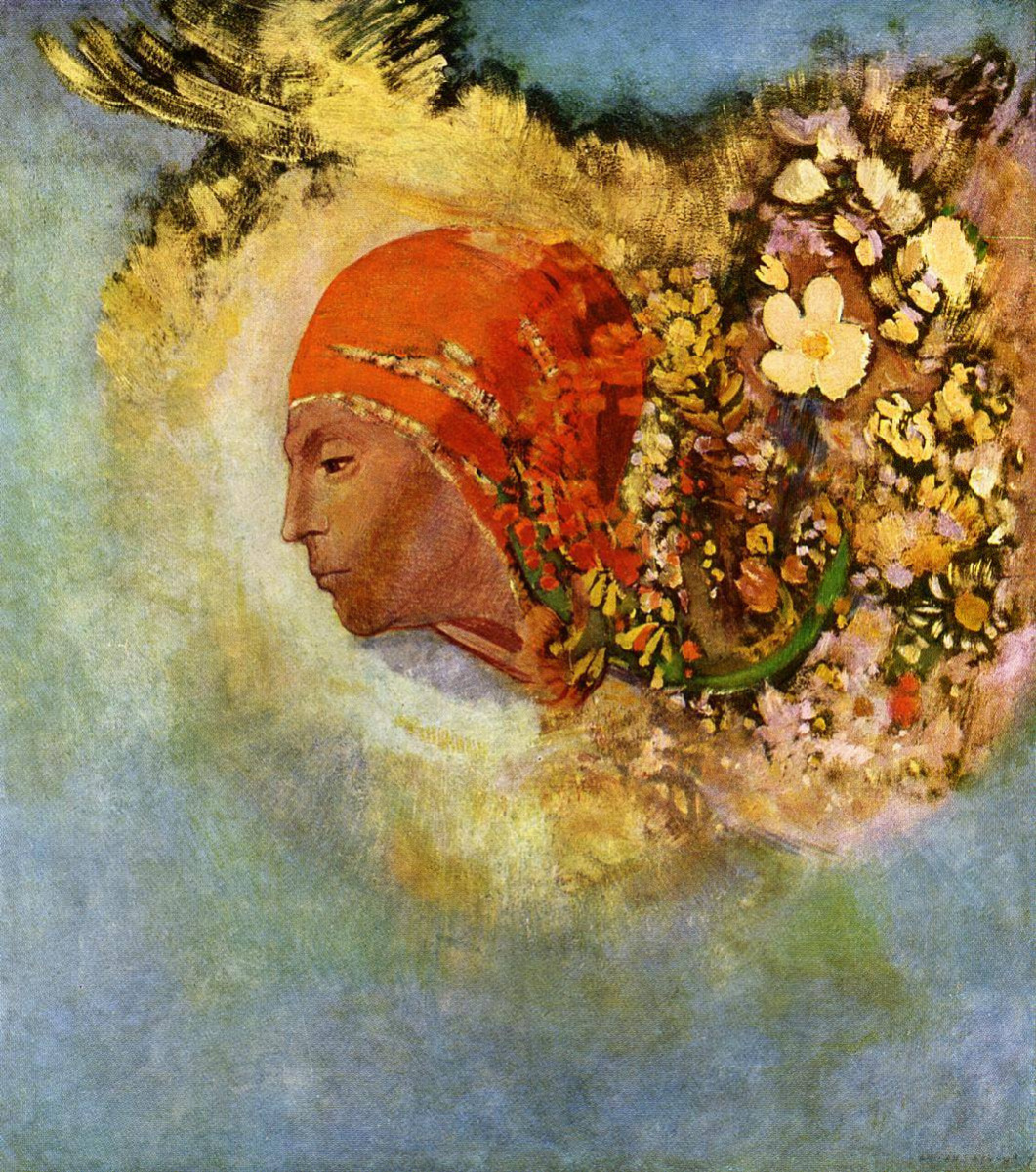 Odilon Redon. Head with flowers