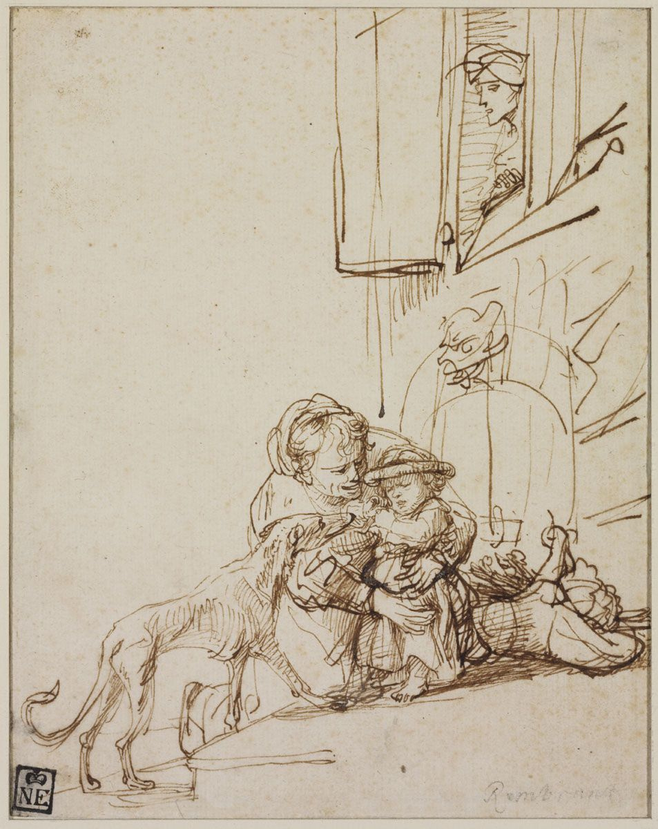 Rembrandt Harmenszoon van Rijn. Woman with a Child Frightened by a Dog
