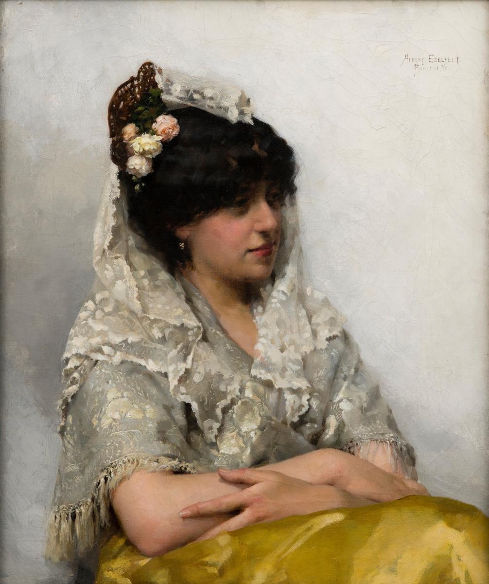Альберт Густав Аристид Эдельфельт. Белая мантилья. 1878